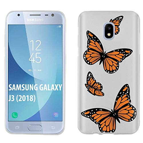 [Case86] Samsung Galaxy J3 2018/Amp Prime 3/Express Prime 3/Achieve/Star/J338 [Clear] Gelflex Phone Case [Monarch Butterfly Print]