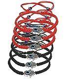 LOYALLOOK 6pcs Braided String Kabbalah Bracelets Rotating Evil Eye Hamsa Hand for Protection Bracelet Red/Black String