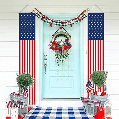 MORDUN Patriotic Decorations for Independence Day-4th of July Decor-Hanging American Flag Banners Stars and Stripes Porch Sign-Fourth of July Party Supplies for Indoor Outdoor-Red White Blue (2 Pcs)