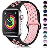 ilopee Waterproof Sport Band Compatible with Apple Watch Series 4 3 2 1, Fashionable Strap for iWatch 42mm 44mm, Black/Pink, S/M
