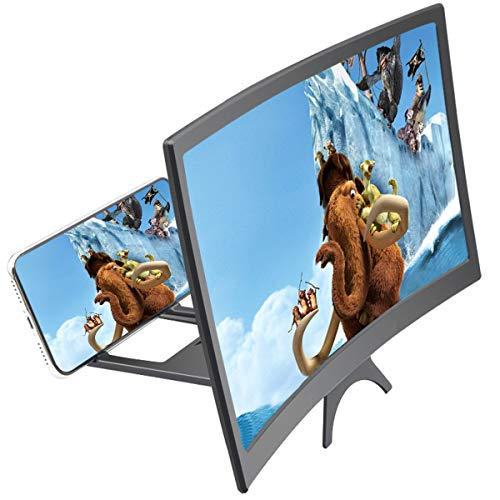 "12"" 3D Curve Screen Magnifier for Cell Phone, HD Amplifier Projector Magnifing Screen Enlarger for Movies, Videos, and Gaming with Foldable Stand Compatible with All Smartphones"