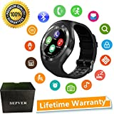 SEPVER Smart Watch Round Bluetooth Smartwatch with SIM Card Slot Compatible with Samsung LG Sony HTC Huawei Google Xiaomi Android Smart Phones for Women Men Kids Boys Girls (Black)