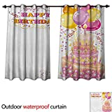WilliamsDecor Kids Birthday Home Patio Outdoor Curtain Celebration Girl Themed Party Cake Candles Balloons Hearts Image Print W63 x L63(160cm x 160cm)