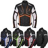 Motorcycle Jacket For Men Textile Motorbike Dualsport Enduro Motocross Racing Biker Riding CE Armored Waterproof All-Weather (Orange, Large)