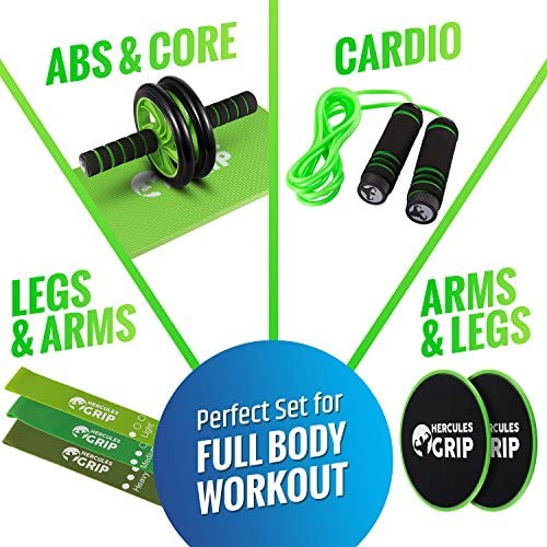 HerculesGrip Ab Wheel Roller, Adjustable Jump Rope, 2x Dual Sided Gliding Discs & 3x Loop Resistance Bands 4-In-1 Home Gym Total Body Workout Equipment Set -For Core, Cardio, Abs, Legs & Arms Training 9