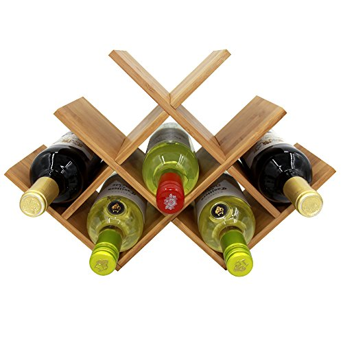 Diamond Shaped Bamboo Countertop Wine Rack, 8 Bottlesp