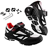 TriSeven Mountain MTB Shoes - Lightweight, Breathable Synthetic Leather, Anti-Slip Heal & SPD/Indoor Cycling Compatible! (39) Black
