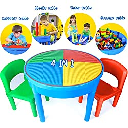 Kids Activity Table, 4in1 Water Table, Play Table, Building Blocks Table and Storage for Toddler, Includes 1 Table, 2 Chairs and 25 Jumbo Bricks