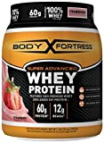 Body Fortress Super Advanced Whey Protein Powder, Gluten Free, Strawberry, 2 lbs