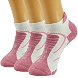 Facool Woman's CoolMax Fabric Mid Hiker Thick Padded Quarter Athletic Socks Anti-Blister,One Size,3 Pairs Pink&white