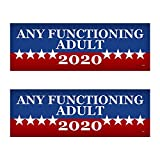 2 PACK! Any Functioning Adult 2020 Funny Bumper Sticker 3' x 9' Car Truck Vinyl Decal Political Presidential Election Made In USA