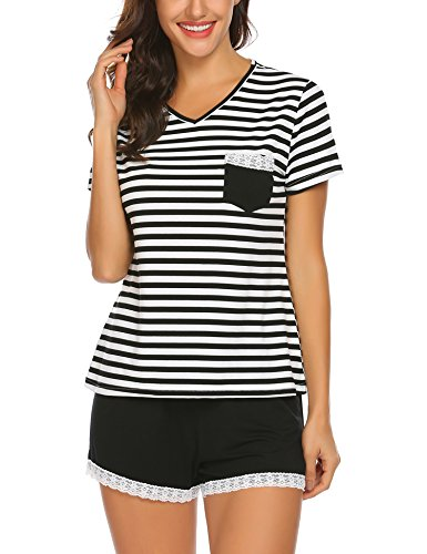 d9783997c0 Ekouaer Women Pajama Set Striped V-Neck Cotton Short Sleeve Sleepwear PJS  Set S-XXL
