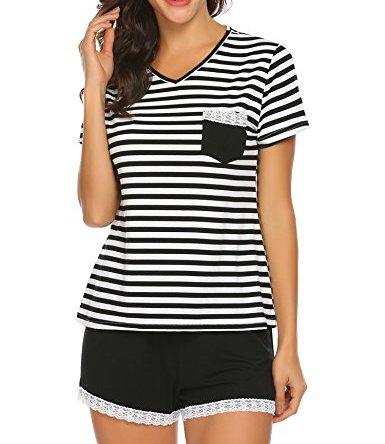 Ekouaer Women Pajama Set Striped V-Neck Cotton Short Sleeve Sleepwear PJS Set S-XXL