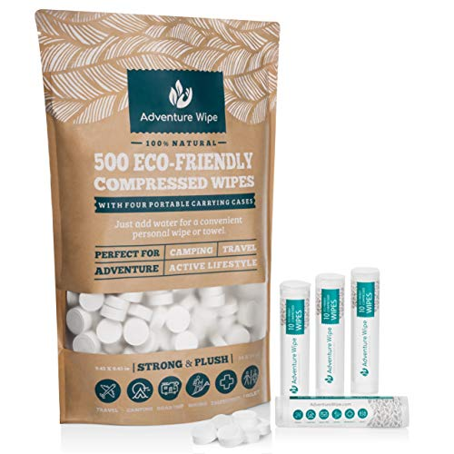 Biodegradable-Compressed-Towels-Wipes-or-Toilet-Paper-Tablets-by-Adventure-Wipe-Reusable-Multi-Purpose-for-Camping-Traveling-Backpacking-and-Hiking-500-Bulk-Pack-Plus-4-Portable-Carrying-Cases