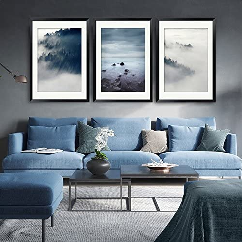 Amazon Com Paintsh Scandinavian Style Living Room Interior Design Modern Minimalist Living Room Sofa Wall Decorative Painting Triple Paintings 50 70 A Set Of 3 Sets Of Clouds Price Posters Prints