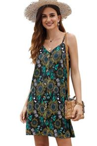 Summer Spaghetti Strap Button Down V Neck Sleeveless Casual Mini Dress