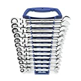 GEARWRENCH 12 Pc. 12 Point Flex Head Ratcheting Combination Metric Wrench Set - 9901D