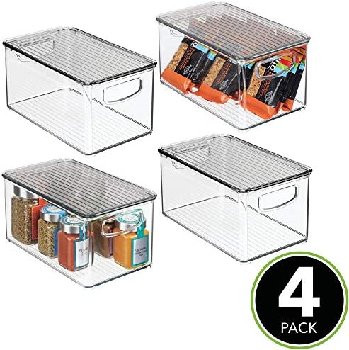 """mDesign Plastic Stackable Kitchen Pantry Cabinet, Refrigerator, Freezer Food Storage Box with Handles, Lid - Organization for Fruit, Jars, Snacks, Pasta - 10"""" Long, 4 Pack - Clear/Smoke Gray"""