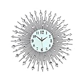 Anysell88 33CM Crystal Wall Clock Diamante Beaded Jeweled Round Sunburst Modern Lifestyle Wall Clock 36pcs Diamond for Living Room & Home