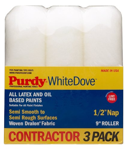 Purdy GIDDS-800630 3 Pack Roller Covers White Dove 9' x 1/2' Nap, 9 inch