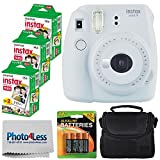Fujifilm instax Mini 9 Instant Film Camera (Smokey White) + Fujifilm Instax Mini Twin Pack Instant Film (60 Shots) + Compact Camera Case + 4 AA Batteries + Cleaning Cloth - Full Accessory Bundle