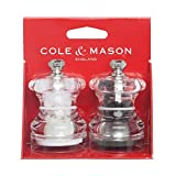COLE & MASON Button Mini Salt and Pepper Grinder Set, Stainless Steel Mills