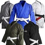 Brazilian Jiu Jitsu Gi BJJ Gi for Men & Women Uniform Kimonos Ultra Light, Preshrunk, Free White Belt!!! (White, A2)
