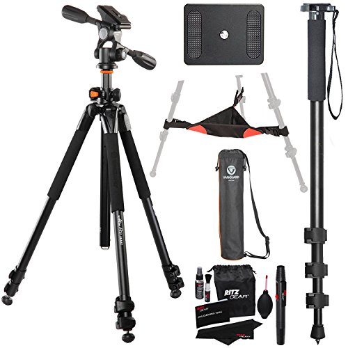 Vanguard Alta Pro 263AP Aluminum Tripod Kit, 72-Inch Monopod with Quick Release, Ritz Gear Cleaning Kit and Ritz Gear Tripod Stone Bag