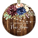 Rustic First Christmas New Homeowners Ornament Country Floral 2019 Holiday Keepsake Welcome Home Gift Basket Idea Realtor Client Settlement Housewarming Party Present 3' Ceramic Flat Circle Decoration