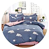 Heart to hear-pillowcase-and-sheet-sets Grey Bedding Set Summer Bed linens 3or 4pcs Set Duvet Cover Set Pastoral Bed Set Kids Adult Bedding Bedclothes Queen kin,Grey Cloud,Twin
