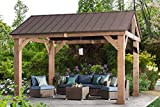 Sunjoy L-GZ1171PWD-B Hudson Cedar Wood Pavilion with Hardtop, Gazebo, 14'x12', Natural/Brown