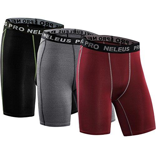 Neleus Men's 3 Pack Compression Short,047,Black,Grey,red,US 2XL,EU 3XL