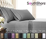 Southshore Fine Linens - 4 Piece - Extra Deep Pocket Pleated Sheet Set, King, Steel Gray