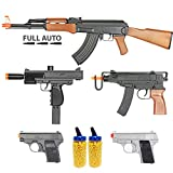 BBTac Airsoft Gun Package - Guerilla Collection of 5 Airsoft Guns - Full Auto AK AEG Electric Airsoft Rifle, Skorpion, Uz and Dual Mini Pistols, 4000 BB Pellets, Great for Starter Pack Game Play