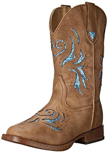 ROPER Girls' Glitter Breeze Western Boot, Tan, 2 M US Little Kid