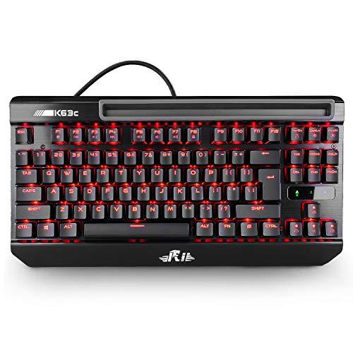 Rii Mechanical Backlit Keyboard, K63C USB Wired Mechanical Gaming Keyboard,87keys Anti-ghosting PC Gaming Keyboard,Blue Switch with 3 Macro Keys for PC, Windows and Mac