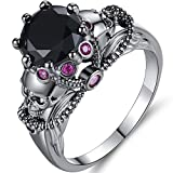 Jude Jewelers Retro Vintage Skull Gothic Statement Promise Cocktail Party Biker Ring (Black, 9)