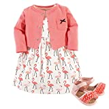 Hudson Baby Girl Cardigan, Dress and Shoes, 3-Piece Set, Flamingos, 9-12 Months (12M)