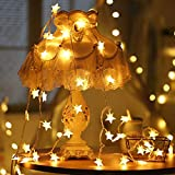 KYSUM Party LED Lights, Holiday Birthday Decoration Light with Star Clips for Hanging Photos Cards Memos in Wedding Party Home Decor, Easter Lights, Battery Powered 10 LED Warm White