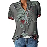 vermers Womens Plus Size Blouses Casual Floral Printing Pocket Short Sleeve Button Shirts Easy Tops T-Shirt(XL, Gray)