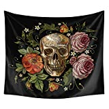QCWN Skulls Decor Tapestry Wall Tapestry Halloween Decor Flowers and Skull Design Skeleton Art Wall Hanging for Bedroom Living Room Dorm.Black Grey 78x59Inch\