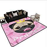 Teen Girls,Kitchen Room Floor Mat Rug 24'x 36' Princess and Pug Dog Outdoor Camping Rugs