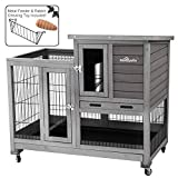 Aivituvin Cage for Bunny Indoor and Outdoor Rabbit Hutch Wood House for Small Pet Animals with Run - 4 Casters Included