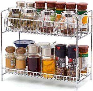 2-Tier Standing Spice Rack EZOWare Kitchen Bathroom Countertop Storage Organizer Shelf Pantry Holder