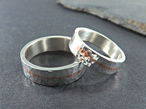 mixed metal wedding band set, unique wedding rings two tone ...