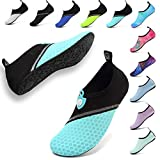 welltree Water Shoes Women's Men's Quick-Dry Aqua Socks Barefoot Shoes Slip on Yoga Shoes for Outdoor Beach Swim Pool Surf Diving Splice Black Cyan EU36/37