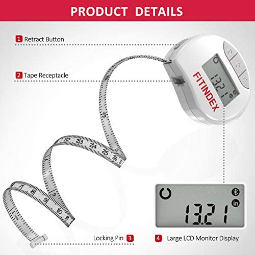 Smart Body Tape Measure, FITINDEX Bluetooth Digital Measuring Tape for Body, Soft Sewing Tape, with LED Monitor Display, Lock Pin, Retractable Button, Fitness Body Measurement via Phone App 5
