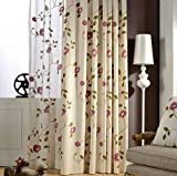 AiFish Floral Curtains for Living Room Semi Blackout Curtains with Eyelets Room Darkening Drapes ome Decor Embroidered Morning Glory Grommet Window Treatment Panels for Bedroom 1 Panel W52 x L96 inch