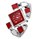 Top Plaza Womens Ladies Casual Elegant Silver Tone Rhombus Face Dress Analog Quartz Bangle Cuff Bracelet Watch 6 Inches,Mother's Day Gift,Red