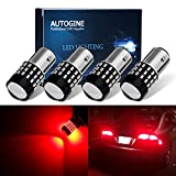 AUTOGINE 4 X Super Bright 9-30V 1157 2057 2357 7528 LED Bulbs 3014 54-EX Chipsets with Projector for Tail Lights Brake Lights Turn Signal Lights, Brilliant Red